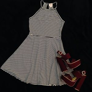 NWOT Black and White Striped Halter Sundress